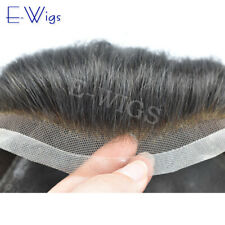 French Lace Front Hair System Gray Hair Mens Toupee PU Poly Skin Human Hairpiece