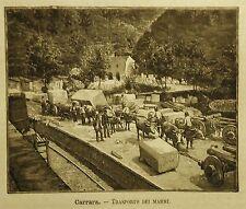 1891= CARRARA,TRASPORTO DEI MARMI = TOSCANA.ALPI APUANE.Xilo+Passepartout..Etna
