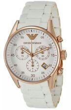 Emporio Armani AR5919 Men's Gold Bezel Sportivo White Silicone Chronograph Watch