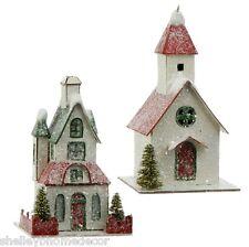 Putz House & Church Ornaments w Lights Set 2 RAZ Christmas rzchtw 3600505 NEW