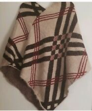 NWT Plaid Oversized Soft Blanket Shawl Poncho Chenille Cashmere Feel Designer In