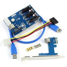 PCIe 1 to 3 PCI Express 1X Slots Riser Card Mini ITX to External 3 PCI-e