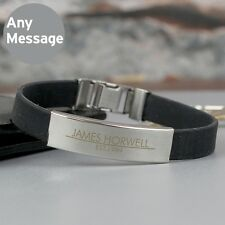 Personalised Classic Male Rubber & Steel Bracelet Father's Day Gift For Men Dads
