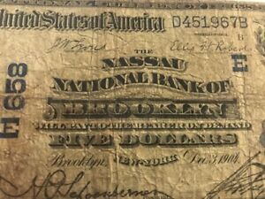 ULTRA RARE 1902 $5 Nassau National bank BROOKLYN, NY New York Ch 658 DATE BACK