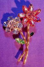 Juliana Vintage Jewelry Brooch Pin Flowers Rhinestones Open Back Gold Tone 00248