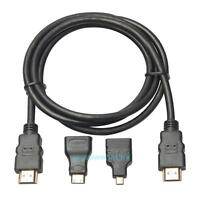 3 in 1 High Speed HDMI to Mini/Micro HDMI Adapter Cable Connector for PC TV PS4
