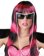 Lady Gaga Untamed Blk/Pink Long Sexy Womens Halloween Costume Accessory Wig