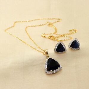 Fashion Cubic Zirconia Sapphire Pendant Earring Set 12 MPS 3