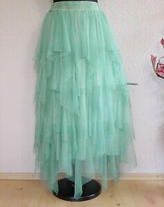 "Moonshine Fashion° Lagenlook ""Hexen"" Zipfel Tüllrock Batik ~ Salbei Grün ~ 3"