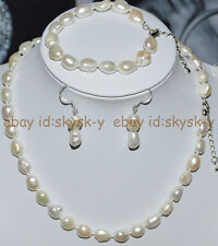 Real Natural 9-10mm Baroque White Freshwater Pearl Necklace Bracelet Earring Set