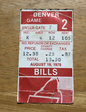 Vintage 1978 Buffalo Bills Preseason Ticket Stub vs Denver Broncos Rich Stadium