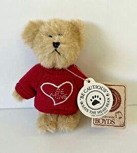 Boyds Bear Mini Message Bear Forever Luv 82035 Be Mine Red Heart Sweater Retired