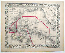 1872 OCEANICA, MITCHELL ANTIQUE HAND-COLORED MAP