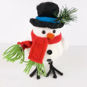 "CHRISTMAS Snow Chickadee FELT FABRIC Snowman BIRD TABLETOP DECOR 8"" tall"