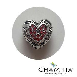 Chamilia silver 925 Disney Belle heart cz bracelet charm *see pics/description