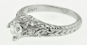 Platinum hand engraved vintage Inspired diamond engagement ring