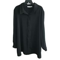 Susan Graver Stretch Peachskin Fabric Button Front Big Shirt Black Size 2X 22W
