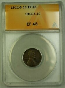 1911-S Lincoln Wheat Cent 1c ANACS EF-45 (A) (WW)