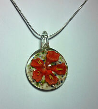 Murano glass with Red & Gold Flower Design on 925 Sterling Silver Necklace