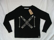 NWT Authentic Woolrich BLACK CROSS COUNTRY SKI Motif Mohair Womens Sweater SMALL