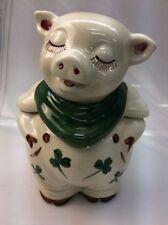 vtg Shawnee USA pottery pig Green Shamrock cookie jar