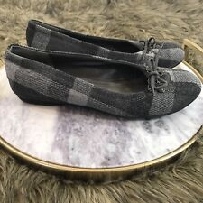 Madden Girl Sz 8.5 Gray Plaid Bow Detail Casual Career Ballet Flats Dezzy