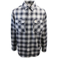 Carhartt Men's Relaxed Fit Black Stone Grey Plaid L/S Woven Shirt (372)