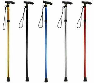 Folding Aluminium Light Weight Walking Stick Disability Mobility Aid 4 Colours