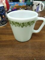 One Pyrex 1410 Spring Blossom Crazy Daisy Milk Glass Coffee Mug Cup D-Handle