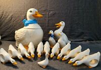 Blue Ribbon Goose -  Cookie Jar, Napkin Rings, Toothpick Holder and Figurines