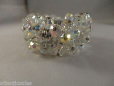 Costume Jewelry Vintage Aurora Borealis Crystal Stretch Cuff Bracelet