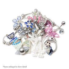 10 Randomly Picked Belly Rings - Hearts, Jewels, Butterflies, 316L Steel