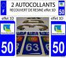 2 STICKERS RECOUVERT DE RESINE PLAQUE IMMATRICULATION DEPARTEMENT MANCHE 50