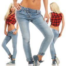 10901 MOZZAAR Damen Jeans Röhre Skinny Haremscut Damenjeans Stretch Denim Ankle