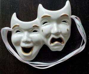 "Wall Decorative Mask, Comedy Tragedy, Porcelain, 4x3.5"""