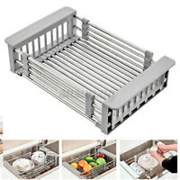 Retractable Sink Water Filter Rack Drain Basket Stainless Steel Dish Drain