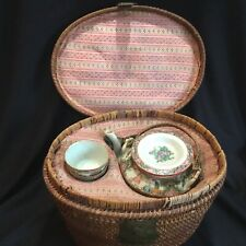 New listing Antique Chinese Porcelain Famille Rose Medallion Teapot Set in Wicker Fitted Box