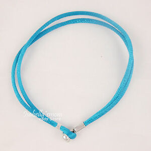 "TURQUOISE Genuine PANDORA Teal Fabric CORD Single Bracelet 18cm/7.1"" Medium NEW"