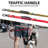Dual-Handle Dog Leash Reflective Elastic Stretch Nylon Bungee Rope Pets Dog Lead