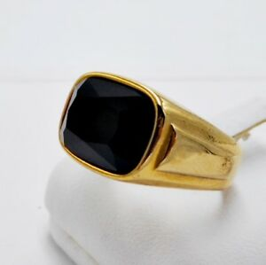 MEN RING BLACK ONYX STAINLESS STEEL GOLD EP ENGAGEMENT WEDDING SOLITAIRE SIZE 8