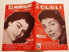 Partition vintage double sheet music GLORIA LASSO L'Oubli / DALIDA La Montagne