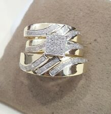 14K Yellow Gold Over His & Hers Diamond Square Pave Wedding Bridal Trio Ring Set