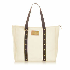 Pre-Loved Louis Vuitton White Ivory Canvas Fabric Antigua Cabas GM FRANCE