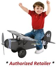 MORGAN CYCLE KIDS GREY STEEL ARMY 44 AIRPLANE FOOT TO FLOOR RIDE-ON TOY - NEW