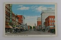 Postcard Lincoln Way Looking East Massillon Ohio First National Bank Shops
