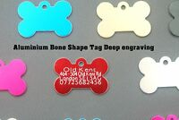 Pet ID Tag, ALUMINIUM DOG TAGS, BONE SHAPES IN TWO SIZES, ENGRAVED Options
