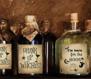 4 Halloween Wine Soda Bottle Labels Party Drink Up Witches I'm Here for Boos #10