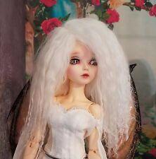 "BJD 1/4 MSD 16"" Doll White Mohair Wig Only Minifee Unoa Ellowyne Size 7/8 ?"