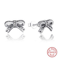 Wostu Retro Authentic S925 Sterling Silver Sparkling Bow Stud Earrings, Clear CZ
