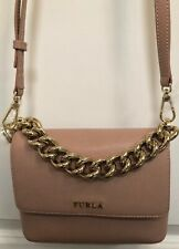 Furla Gaya Mini Chain Handle Saffiano Pink Leather Convertible Crossbody Handbag
